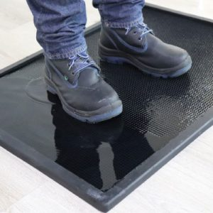 Footwear sanitizing mats